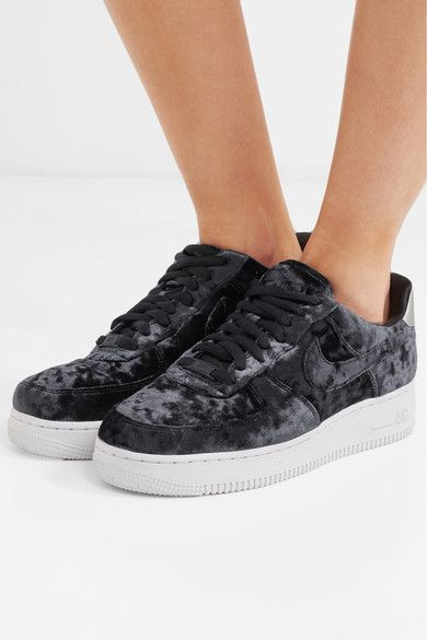 on sale a8c7d cda52 Rubber sole measures approximately 30mm  1 inch Black crushed-velvet and  silver faux leather Lace-up front Nike follows its own size conversion, ...