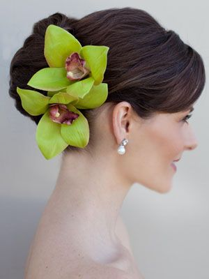 Tropical Orchid Hair Flowers in Green or White by Hair Comes the Bride