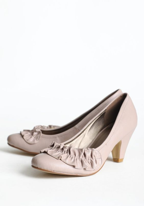 """Lydalia Ruffled Heels In Dusty Rose 34.99 """"http://shopruche.com/lydalia-ruffled-heels-in-dusty-rose.html"""">shopruche.com. These faux leather heels in dusty rose are finished with a classic heel and charming detail., , All man made materials, 3"""" heel, Slightly padded insole"""