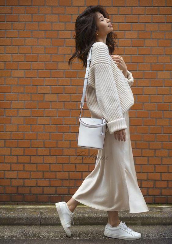 Silk midi Slip skirt ivory Silk Slip long fall trends looks | Etsy