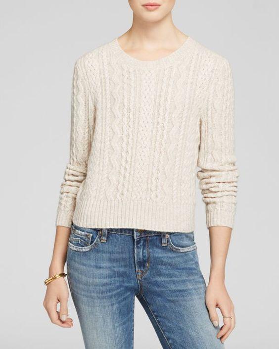 Aqua Cashmere Sweater - Cable Crop Crewneck