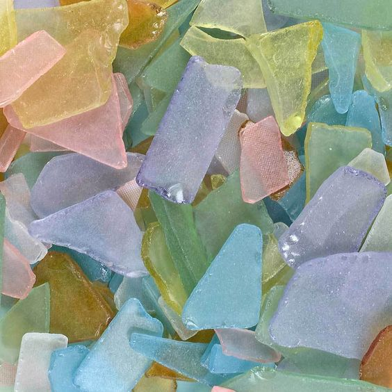 Seeglas, Mosaik, Glasscherben gerundet 20-50mm 1 kg.