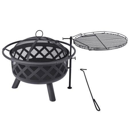 Micasa 30 Inch Fire Pit And Cooking Grill With Spark Screen Poker And Swing Away Cooking Surface Fo Fire Pit Cooking Grill Wood Burning Fire Pit Fire Pit Kit