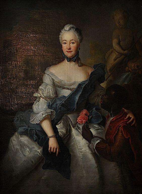 zwarte bedienden - 1750 Caroline von Hessen-Darmstadt mit ihrem Mohren by Antoine Pesne