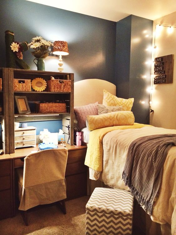 Cute dorm rooms, Pallet shelving and Headboard lights on