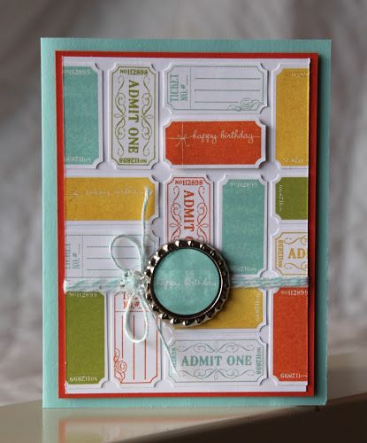 That's the Ticket Stamp Set  Ink: Daffodil Delight, Lucky Limeade, Pool Party, Tangerine Tango,   Paper: Pool Party, Tangerine Tango,  Whisper White  Accessories and Tools: Vintage Faceted Buttons, Pool Party Baker's Twine, Soda Pop Tops, Ticket Duo Punch, Big Shot (used to flatten Soda Pop Tops)