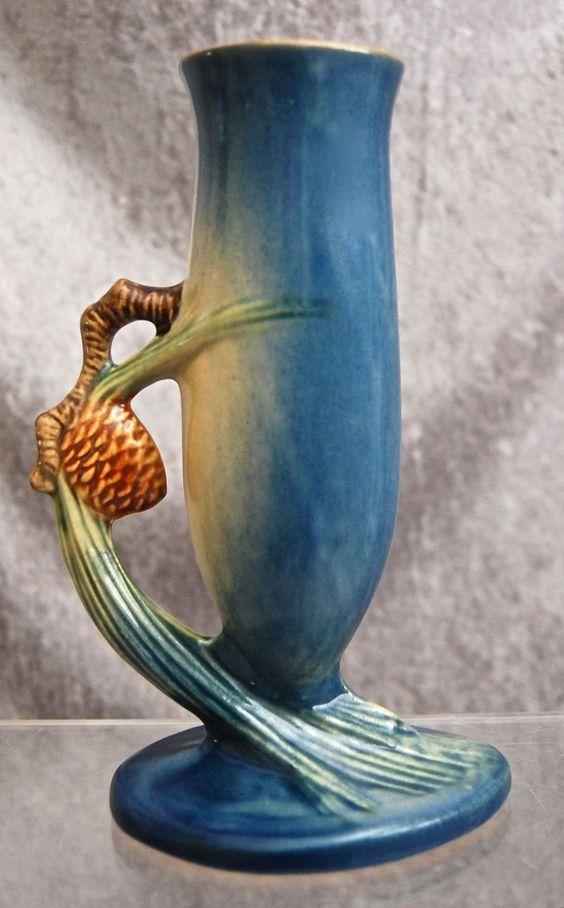 Roseville Pottery Pine Cone Bud Vase #479-7, Blue: