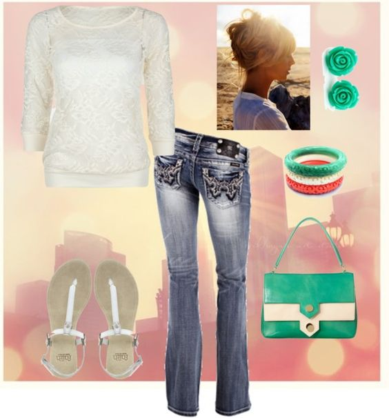 """""""Simple lace with color pop"""" by mistygutierrez on Polyvore"""