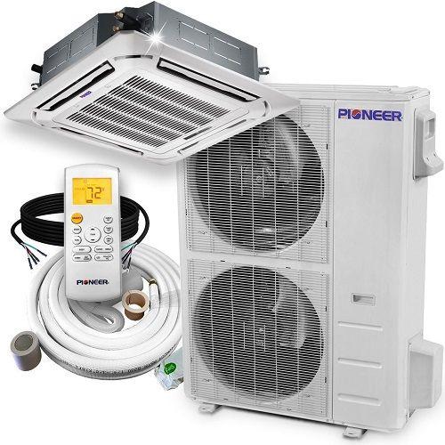 Pioneer 48 000 Btu 16 8 Seer 8 Way Slim Cassette A C Heat Pump System Heat Pump System Heat Pump Ductless Heating And Cooling
