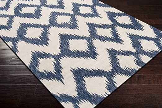 Contemporary Area Rug Mediterranean Blue Winter White 8 X 11 In 2020 Wool Area Rugs Geometric Pattern Rug Contemporary Area Rugs