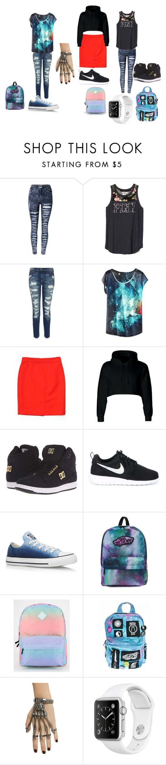 """Set made by Elestren (age 10)"" by noa-kramer on Polyvore featuring Current/Elliott, J.Crew, DC Shoes, NIKE, Converse, Vans and Current Mood"