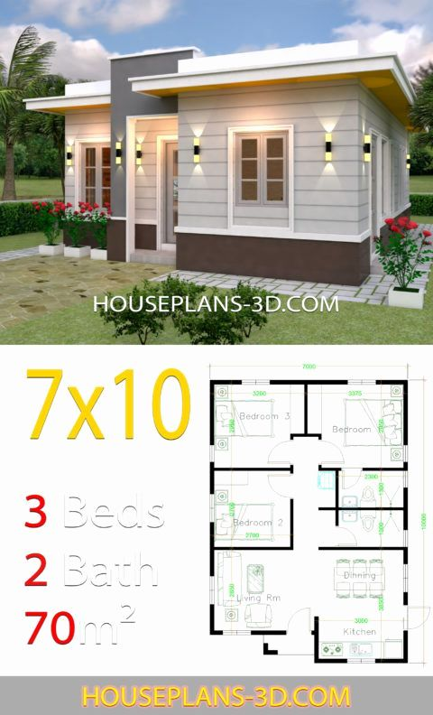 Modern 3 Bedroom House Plans Fresh House Design 7x10 With 3 Bedrooms Terrace Roof In 2020 In 2020 Flat Roof House House Construction Plan House Plans
