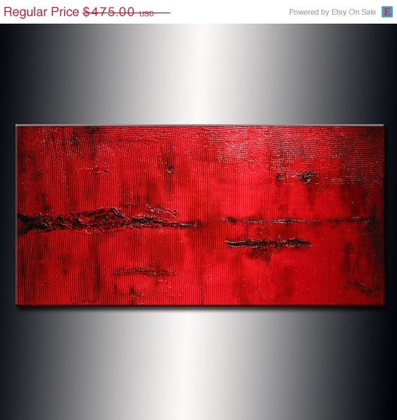 Abstract Painting Canvas Art Original Red by newwaveartgallery, $380.00