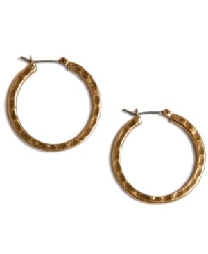 Lucky Brand Earrings, Small Round Gold-Tone Hoop - Gold