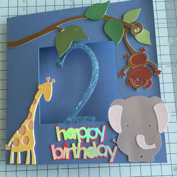 A jungle themed card for a 2 year old made using the cricut explore air.