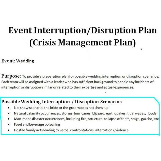 Sample of a Crisis Management Plan for Wedding Events Wedding - emergency response plan template