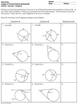 Printables Tangents To Circles Worksheet angles in circles using secants tangents and chords partner pa