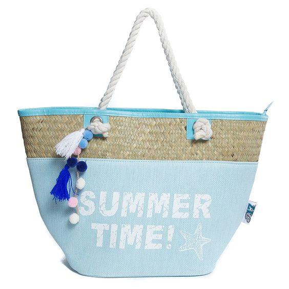 Beach Bag, Straw Beach Tote Bag, Sturdy Handles, Zipper | Luggage ...