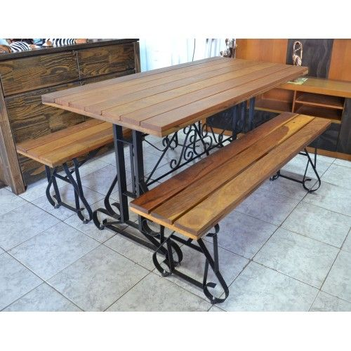 Armario Escritorio ~ Mesa com Bancos de madeira com pés de ferro 2738 #arte #moveis #rusticos www