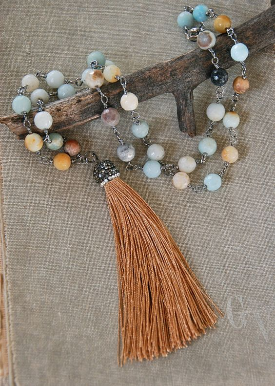 Bohemian gemstone tassel necklace /long necklace by tiedupmemories