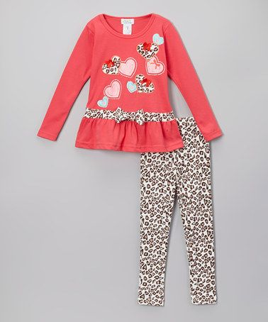 Another great find on #zulily! Coral Heart Ruffle Tunic & Leopard Leggings - Toddler & Girls #zulilyfinds