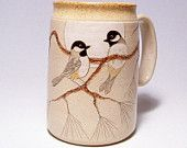 Black Capped Chickadees Mega Mug with pine branch Limited Series 109 24oz