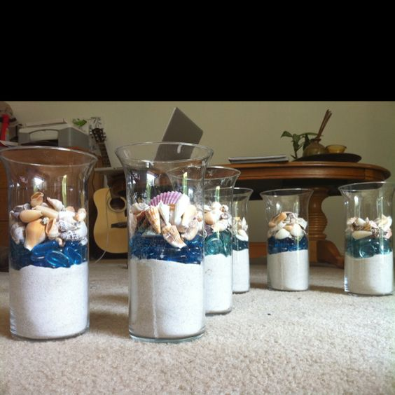 Centerpieces wedding and seashells on pinterest