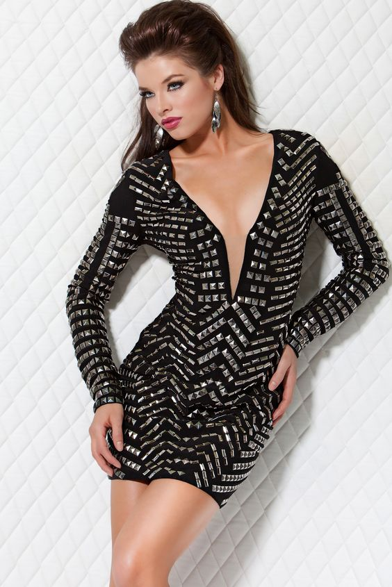 Sexy Black Long Sleeve Studded Dress - Cocktail Dresses - Party ...