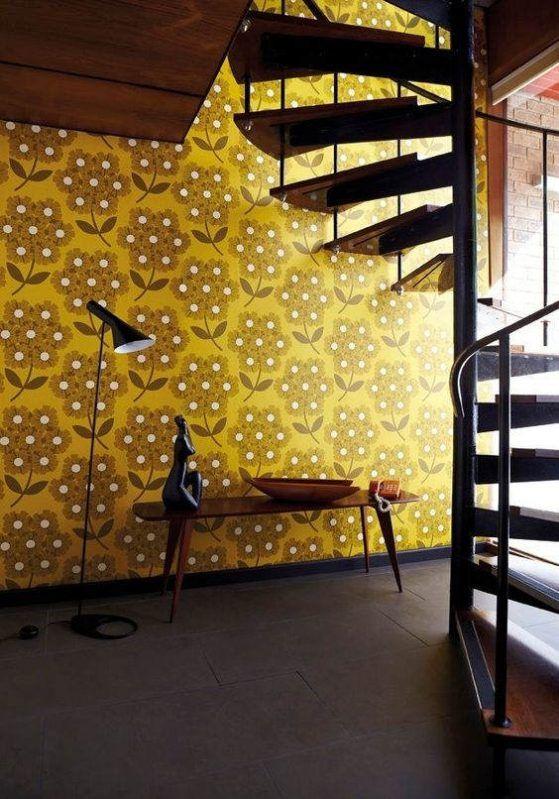 Interior Color Trends 2020 Mustard Yellow In Interiors And Design Colorful Interiors Yellow Wallpaper Retro Wallpaper