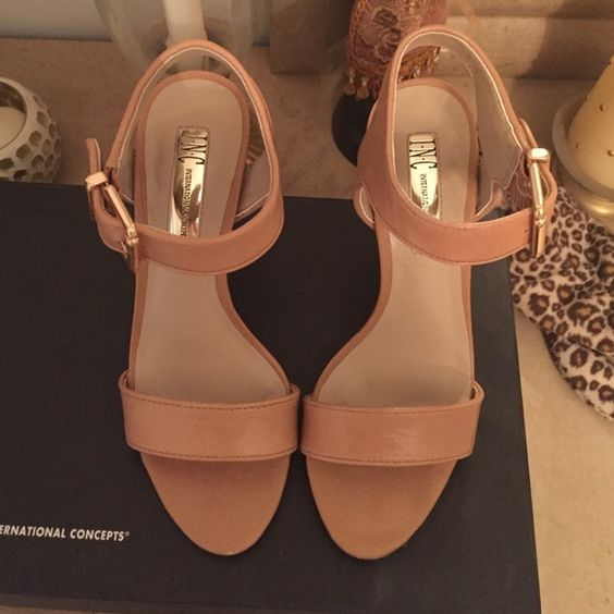Open toe nude strappy INC  heels These really cute pair of nude strappy heels go with everything!!! Just in time for summer! Only worn twice. Has a really cute gold buckle on the side as well !! INC International Concepts Shoes Heels