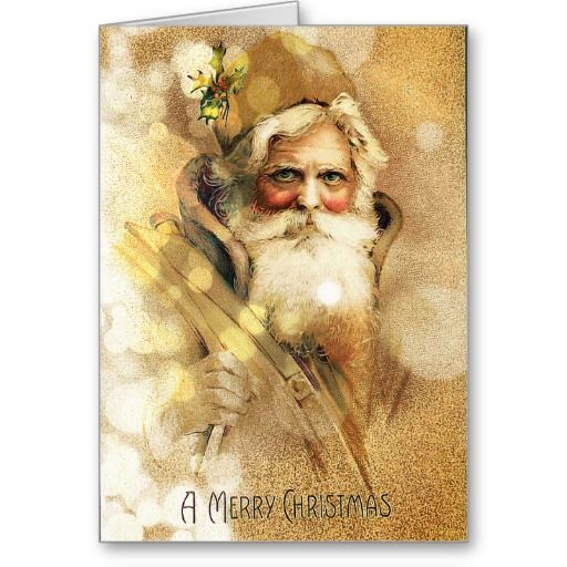 Golden Bokeh vintage Santa Claus Greeting Cards: greeting card, note card, christmas card, merry christmas, seasons greetings, holiday greeting card, winter