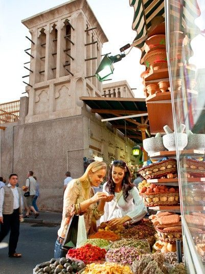 Traditional souk shopping in Dubai