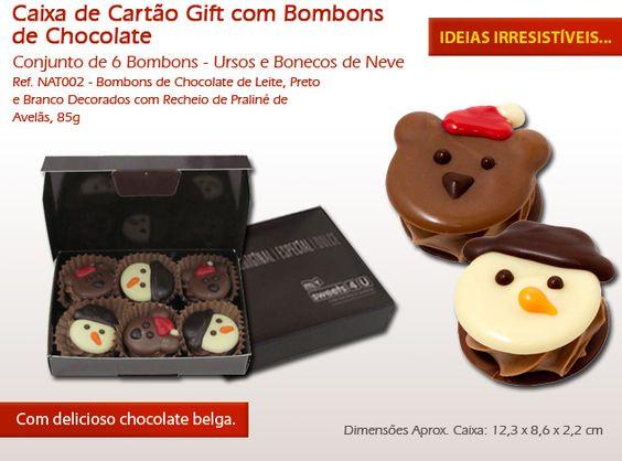 Não resista às nossas figuras de Natal feitas em chocolate e ofereça como presente neste Natal!