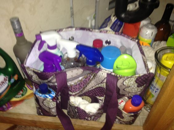 Cleaning products under the sink. Get your organizing utility tote for 15.00 when you spend 35.00 in September 2013