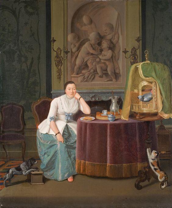Hendrick Pothoven  (1725-1807)   —  Lady in Interior  :   Rijksmuseum Twenthe, Enschede.    Netherlands   (2692×3252)