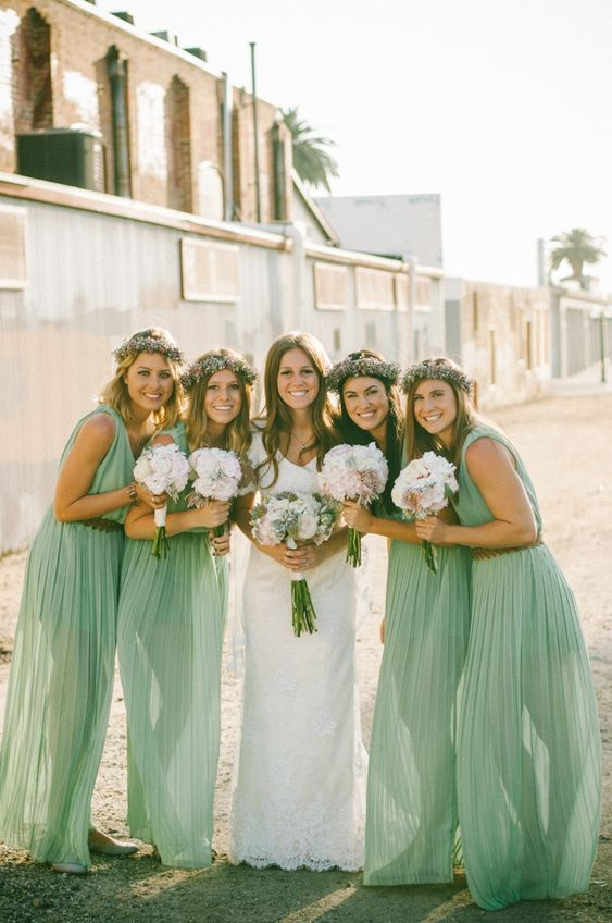 Mint green bridesmaid dresses... and LOVE their floral wreaths! // photo by Chantel Marie, see more: http://theeverylastdetail.com/vintage-eclectic-california-wedding/: