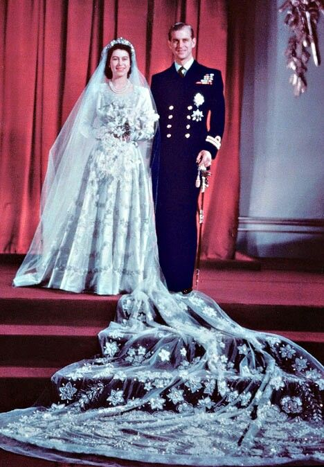 Princess Elizabeth in her wedding gown, 1947. Image via Pinterest.