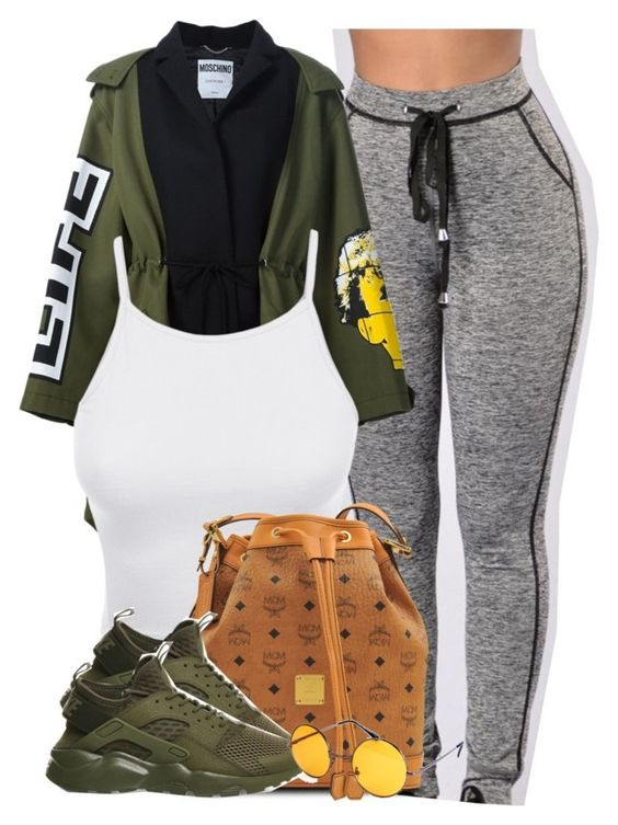 """""""Life."""" by cheerstostyle ❤ liked on Polyvore featuring Moschino, LE3NO, MCM and NIKE"""