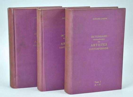 Dictionnaire Biographique Des Artistes Contemporains 1910-1930 Vols 1-3 Paris