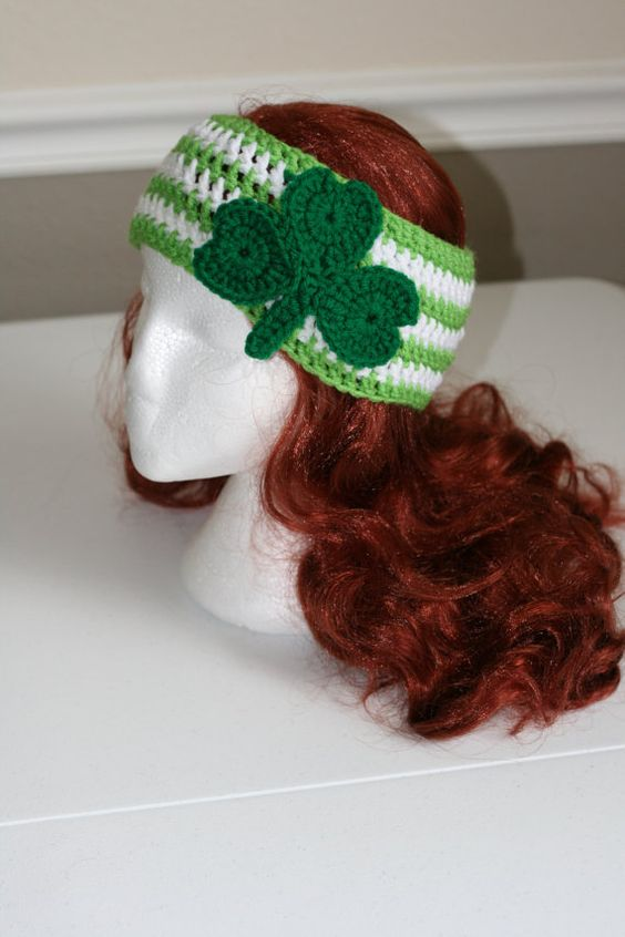 These adorable Head Warmers are perfect for all the upcoming holiday seasons. Not only will it spice up your outfit, it will also keep you warm! The St. Patrick's Day head warmer is green and white striped with a darker green shamrock.