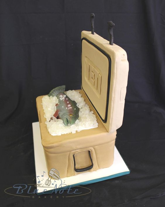 Yeti Cooler with fish - Groom's Cake | Blue Note Bakery - Austin, Texas