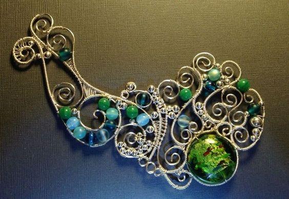 Silver Ocean Wave Pendant - by Katalin KB Walcott