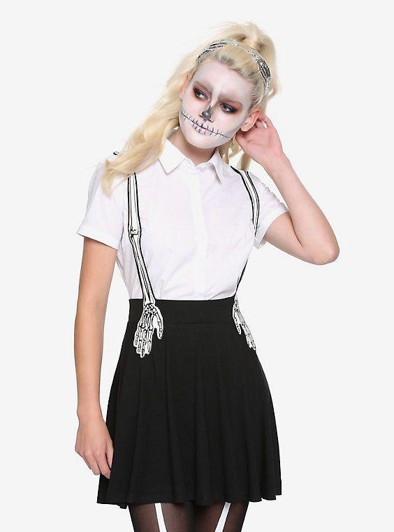 Black /& White Skeleton Bones Adjustable Halloween Costume Suspenders One Size