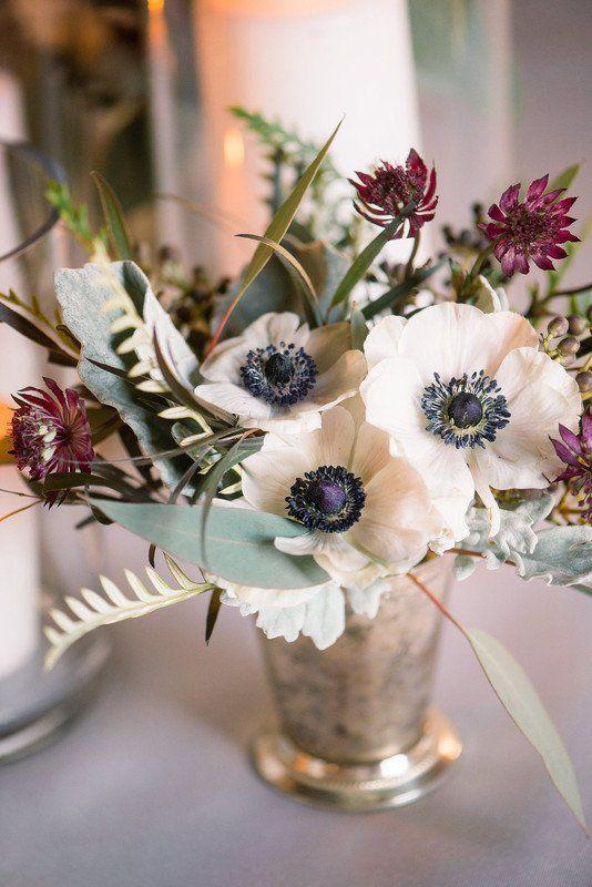 Simple Floral Wedding Centerpiece Anemone Greenery