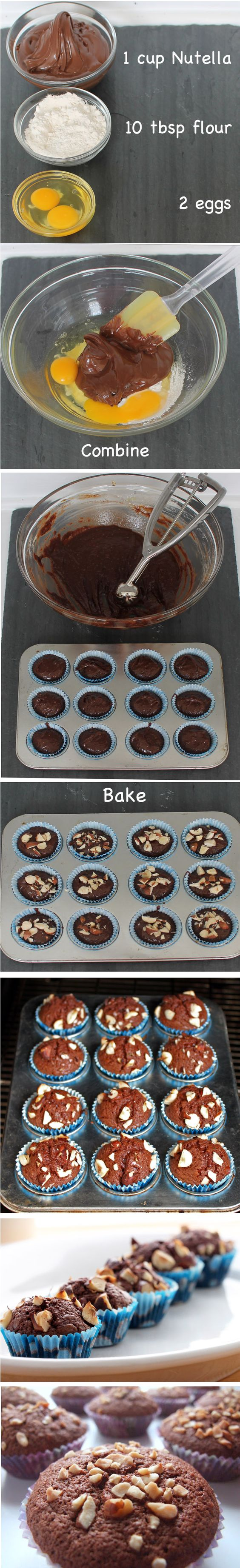 Brownies-muffins de Nutella en 15 minutos: