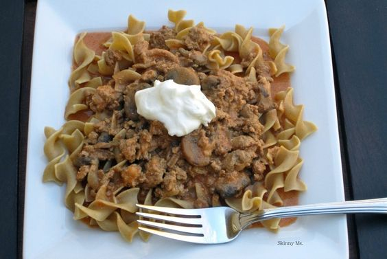 Turkey Stroganoff.  Stroganoff is a recipe that is both versatile and easy to prepare, which we love at Skinny Ms.. Our version of skinny stroganoff calls for healthier ingredients than traditional recipes without compromising flavor. Enjoy!