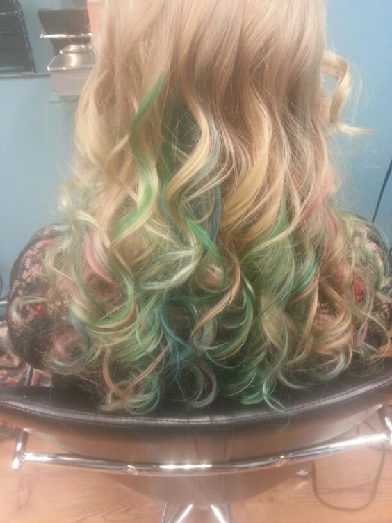 How my hair turned out. Blue green and red streaks