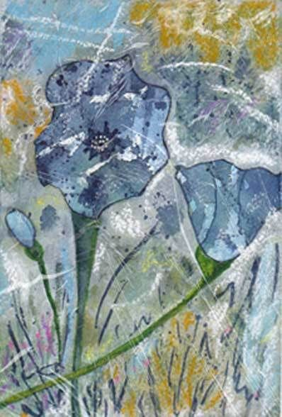Blossoms in Blue, mixed media, sheilascorner.com