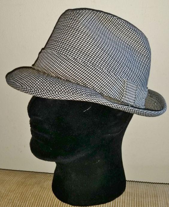 VINTAGE RESISTOL Houndstooth Tweed Self Conforming FEDORA trilby Hat