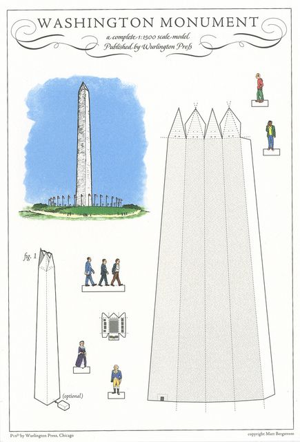 Washington Monument Washington Dc Cut Out Postcard By